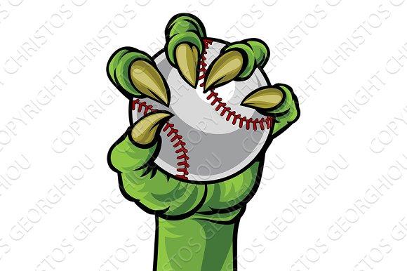 Claw Monster Hand Holding A Baseball Ball
