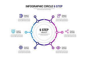 CIRCLE 6 STEP INFOGRAPHIC