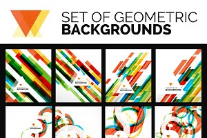 Colorful geometric backgrounds set
