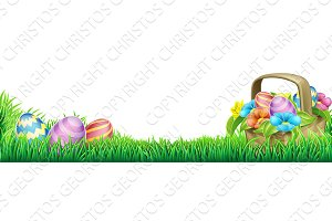 Easter Eggs Basket Design Element