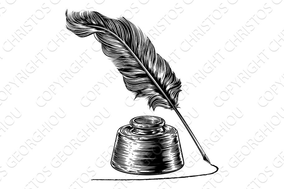 Quill And Inkwell Drawing Writing Quill Feather ...
