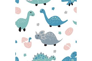 Childish seamless pattern with cute dinosaurs