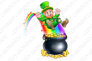 St Patricks Day Leprechaun Rainbow Pot of Gold