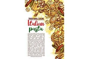 Vector Italian pasta restaurant menu sketch poster