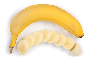 banana sliced isolated on white background. Top view. Flat lay