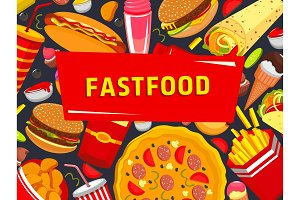 Vector fast food burgers pizza poster