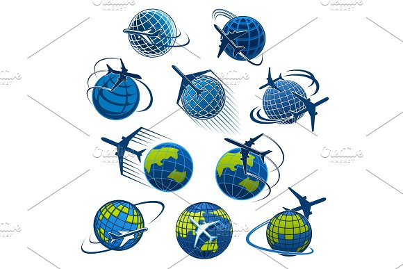Vector Icons Plane And World Globe