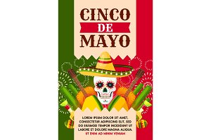 Mexican Cinco de Mayo card with skull in sombrero