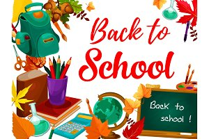 Back to school greeting card with student supplies