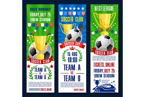 Vector banners for football or soccer tournament