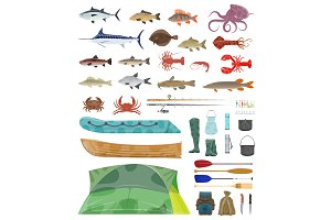 Vector fisherman man tools fishing tackles icons