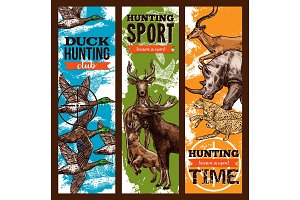 Vector sketch banners for hunting sport club