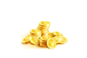 Vector coins icon of golden dollar coin cent pile