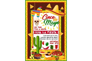 Mexican Cinco de Mayo banner with holiday symbols