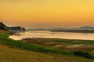 Sunset above Irrawaddy river in Bagan
