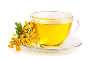 tansy tea with flowers isolated on white background