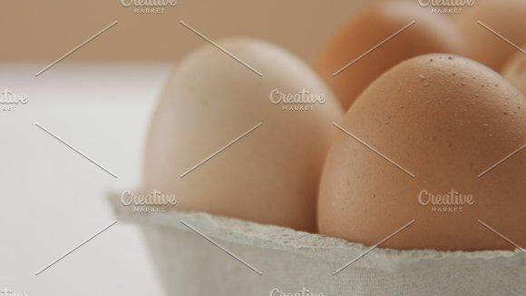 Closeup Of Six Brown Eggs