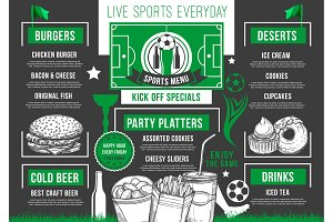 Vector soccer bar football beer pub meals menu
