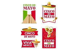 Mexican Cinco de Mayo badge of sombrero, maracas