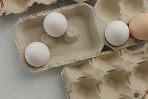 top view of eggs in boxes