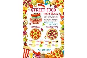 Vector street food burgers pizza menu poster