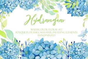 Watercolor Hydrangea Floral Clipart