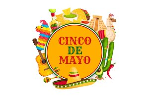 Cinco de Mayo poster with mexican holiday symbols