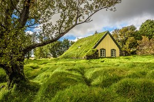 Turf Church in icelandic village of Hof, Skaftafell Iceland