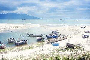 Fisherman boats on vietnamese beach