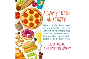 Vector fast food restaurant delivery poster