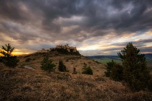 Dramatic sunset over the ruins of Spis Castle in Slovakia