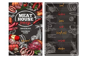 Vector sketch menu for meat house delicatessen