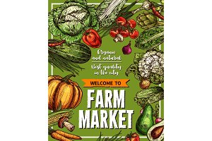 Vector sketch poster for farm market vegetables