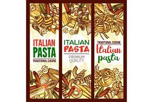 Vector Italian pasta restaurant sketch banners
