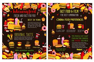 Vector fast food takeaway menu posters