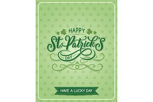 St Patrick Day vector shamrock greeting card