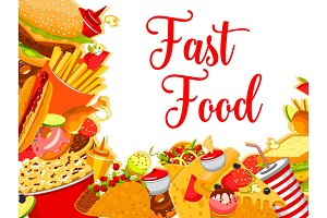 Vector fast food restaurant cafe poster