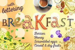 3 Breakfast Set with Lettering