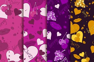 Seamless romantic pattern set