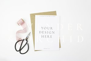 5x7 card mockup with silk ribbon