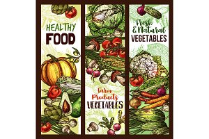 Vector vegetables and veggie sketch banners