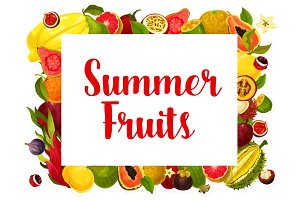 Vector summer fruit poster of tropical fruits