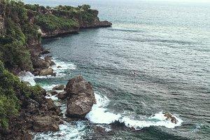 Tropical landscape. Bali island, Indonesia. Aero shot of beach.