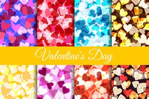Seamless pattern set with hearts