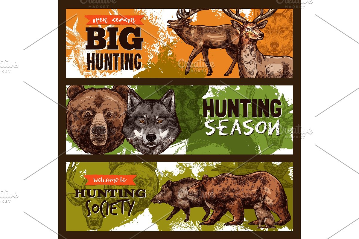 Vector sketch banner for wild animals hunting club