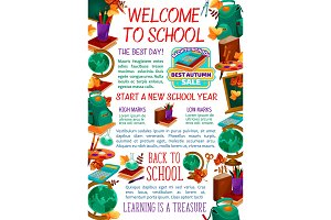 Back to School vector study stationery poster