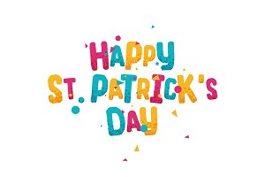 Happy st Patricks day, greeting multi colored lettering
