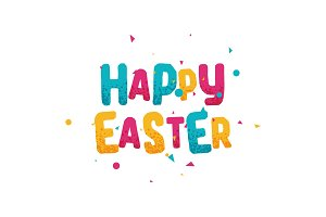 Happy easter day, greeting multi colored lettering