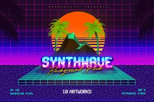 Synthwave Retrowave Background Pack