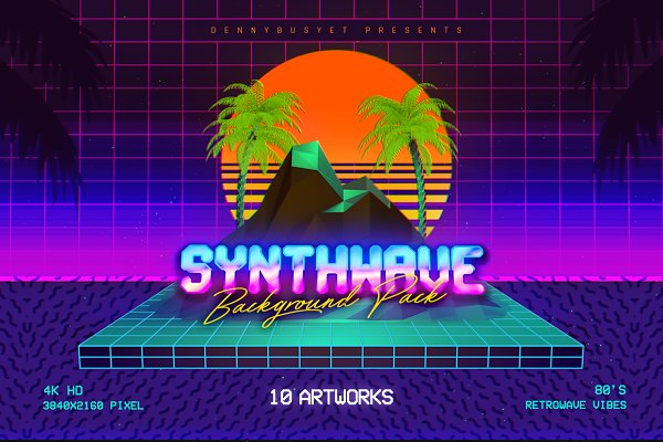 Web Elements - Synthwave Retrowave Background Pack